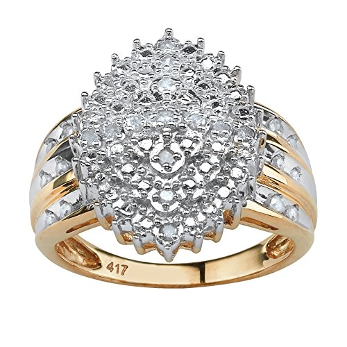 Round Diamond Marquise-Shaped Cluster Ring in 10k Yellow Gold (.35 cttw, HI Color, I3 Clarity)