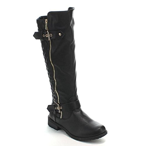 Forever Mango-21 Women's Winkle Back Shaft Side Zip Knee High Flat Riding Boots Black 9