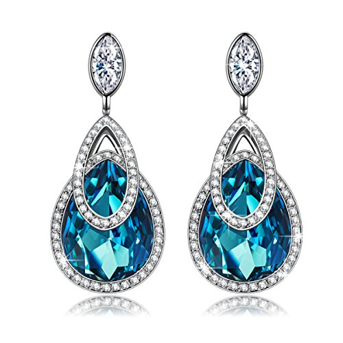 """Hypoallergenic Drop Earrings, ♥Christmas Gift♥ with Exquisite Package J.NINA """"Alpine lakes"""" Dangle Earrings with SWAROVSKI Crystals, Waterdrop Design for Pierced Earrings"""