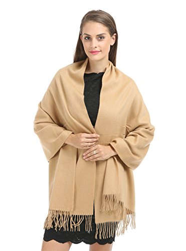 Saferin 78″ X 28″ Women Extra Large Warm Winter Solid Cashmere Lambswool Pashmina Wrap Shawl Scarf (11.camel)