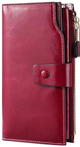 Travelambo Womens RFID Blocking Large Capacity Luxury Waxed Genuine Leather Clutch Wallet Multi Card Organizer (fuchsia)