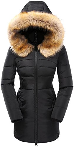 Valuker Women's Down Coat With Fur Hood 90D Parka Puffer Jacket 57-Black-L