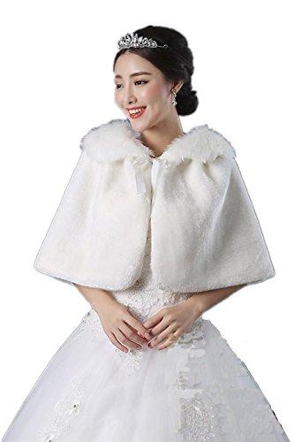 Women's Faux Fur Wrap Cape Stole Shawl Girl's Bolero ...