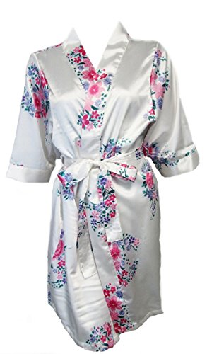Women's White Floral Satin Bridal Robe S/M 4-12