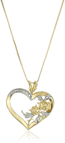10k Yellow Gold Diamond Accent Heart Pendant Necklace, 18″