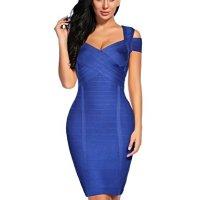 Madam Uniq Women's Sexy V Neck Bandage Dress Clubwear Party Bodycon Dress (Dark Blue, M)