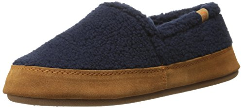 ACORN Women's Moc Slipper, Navy Popcorn, Large/8-9 M US