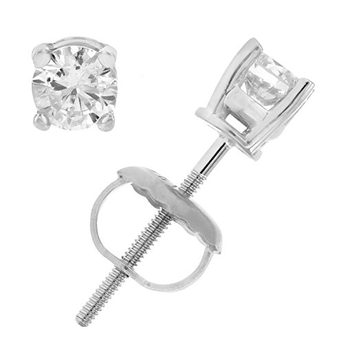 3/8 cttw AGS Certified I1-I2 Diamond Stud Earrings 14K White Gold