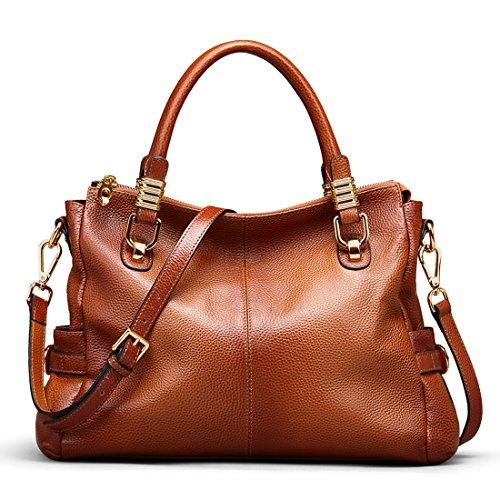 BIG SALE-AINIMOER Womens Soft Vintage Genuine Leather Tote Shoulder Bag Top-handle Crossbody Handbags Ladies' Messenger Purse(Sorrel)