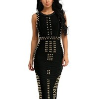 Hego Women's Sleeveless Beaded Long Bandage Bodycon Maxi Dresses HL166(M,Black)