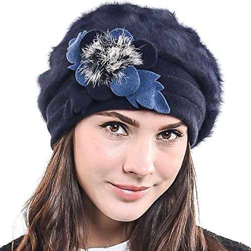 Lady French Beret Wool Beret Chic Beanie Winter Hat Jf-br034 (BR022-Navy Angora)