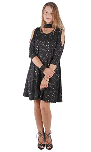 Loose Midi Dress Casual or for Cocktail Midi Dress (Large, Black Sleeves)