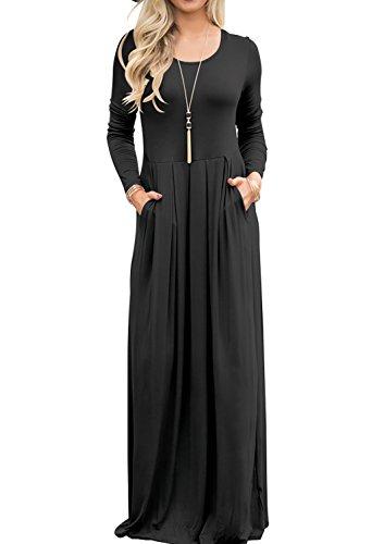 42d3b8f64b Maxi Dress For Women Casual Plain Long Sleeve Dress With Pockets (Black