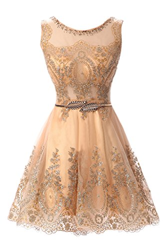 MILANO BRIDE Cheap Cocktail Dress Short Prom Party Dress Applique Belt Tulle-12-Gold