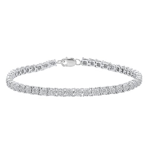 1.00 Carat (ctw) Sterling Silver Round White Diamond Ladies Cluster Tennis Link Bracelet