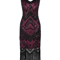 PrettyGuide Women's Flapper Dress 1920s Gatsby Bead Sequin Cocktail Dress S Burgundy