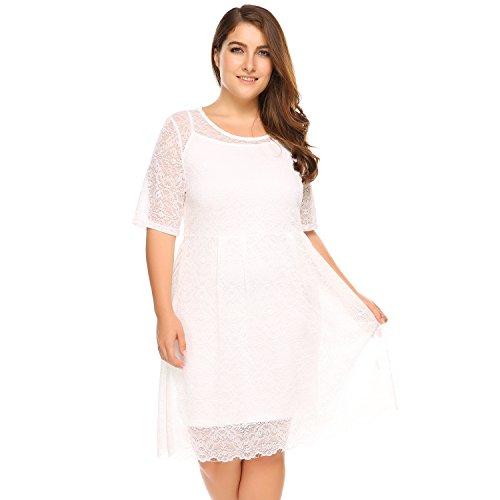 Zeagoo Women\'s Plus Size Lace Bridal Formal Skater Dress ...