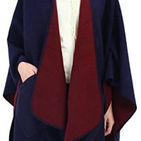 Cardigans Scarf Shawl Women Poncho Cape - Ecoinway Wool Blended Multi Women's Blanket Scarf Knit Poncho Topper Neckline (Navy Pocket Poncho Cape)