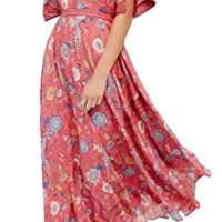 R.Vivimos Women Summer Print Deep V Neck Cotton Beach Long Dresses Red Large
