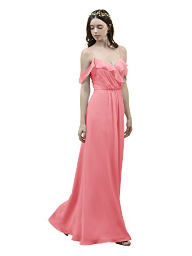 4ef5b55f0 Alicepub Off Shoulder Bridesmaid Dress Spaghetti Straps Evening Party Prom  Gown, Coral Pink, US12