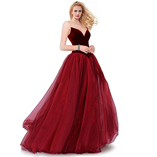 SUMINTRAS Strapless Lace-Up Back Velvet Top Organza Tiered Skirt Ball Gown For Prom (Burgundy, XS)