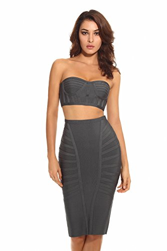 Whoinshop Women's Rayon Bodycon Two Piece Bustier Set Party Bandage Dress Grey S