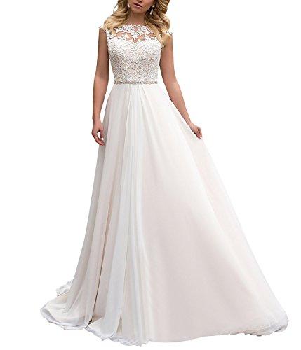 Yilisclothing Yilis High Neck Lace A Line Wedding Dress Chiffon With Beads Belt Beach Bridal Gowns Ivory US8