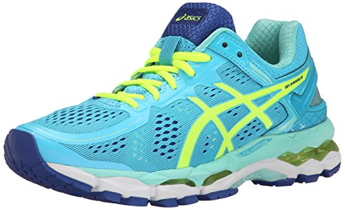 ASICS Women's Gel Kayano 22 Running Shoe, Ice Blue/Flash Yellow/Blue, 9 M US