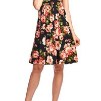 Beachcoco Women's Knee Length Printed Tank Dress (Small, Black/Coral)