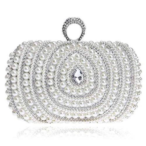 7c59d7fe7424c EPLAZA Women Rhinestone Beaded One Ring Evening Clutch Bags Handbags Bridal  Wedding Party Purse (A)