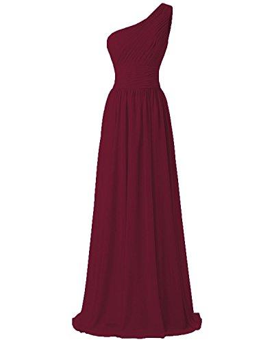 FTSOP Women's One Shoulder Bridesmaid Dresses Long Chiffon Pleated Evening Dress Wine,4