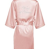 Zynotti Womens Blush Rhinestone Maid Of Honor Satin Robe 1X/2 X 22-26