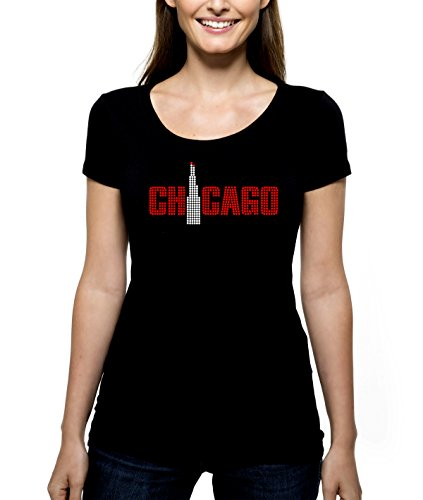 Chicago Tower RHINESTONE T-Shirt Shirt Tee Bling – Pick Rhinestone Color – Windy City Illinois Sky Line Scrapers Willis Sears Lake Michigan – Pick Shirt Style – Scoop Neck V-Neck Crew Neck