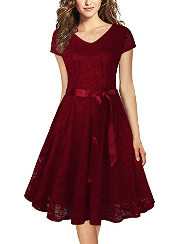 Faddare Lace Dresses for Women,Cap Sleeve Knee Length Dresses for Women,Wine Red XL