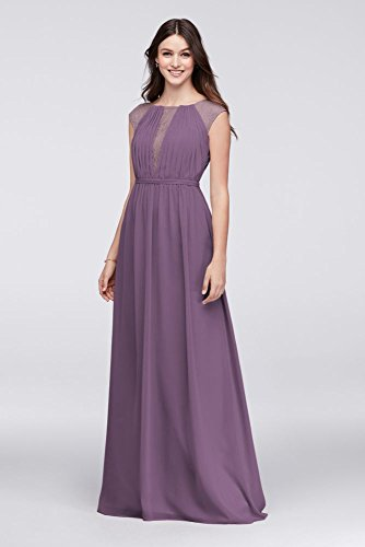 David's Bridal Chiffon Bridesmaid Dress With Chantilly Lace Inset Style F19578, Wisteria, 10