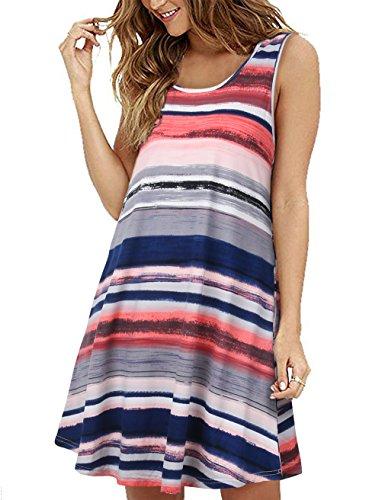 FANVOOK Loose Tank Top for Women,Ladies Summer Swing Dress with Pockets Orange Blue XXL
