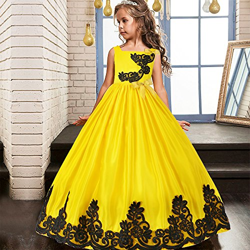 HUANQIUE Girls Pageant Wedding Dresses Party Flower Girl Embroidered Gowns Yellow 5-6T