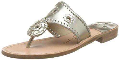 Jack Rogers Women's Hamptons Sandal, Platinum, 9 M US