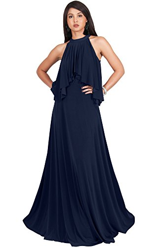 d7eb0cb7fd KOH KOH Petite Womens Long Sleeveless Halter Neck Flowy Bridesmaid Bridal  Cocktail Spring Summer Beach Wedding Party Guest Floor-Length Gown Gowns  Maxi ...