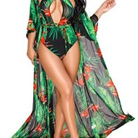 Molisry Women Criss Cross One Piece Floral Print Bikini Swimsuits With Maxi Cover Up