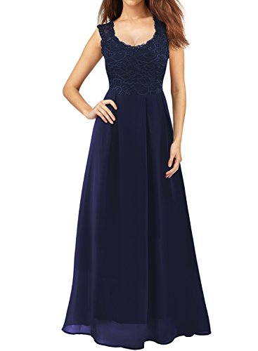Mulysaa Women's Floral Lace Sleeveless Formal Prom Evening Party Gown Floor Length Bridesmaids Wedding Dress (Small, Navy Blue)