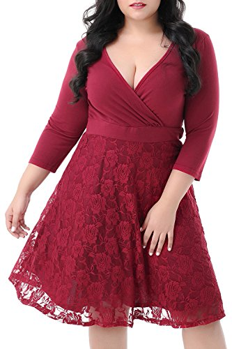 Nemidor Women's V-neckline 3/4 Sleeves Stretchy Plus Size Cocktail Party Midi Dress (Wine Red, 22W)