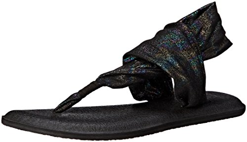 Sanuk Women's Yoga Sling 2 Metallic Flip Flop, Black Rainbow, 7 M US