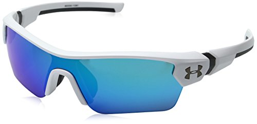 Under Armour UA Menace Wrap Sunglasses, UA Menace Satin White/Charcoal Frame/Gray/Blue Multiflection Lens, YOUTH