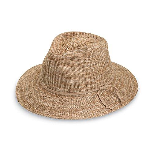 Wallaroo Hat Company Women's Victoria Fedora Sun Hat – 100% Poly-Straw – UPF50+ Mixed Camel