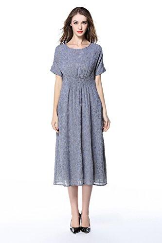 5af579c9f83e Alexander Cardin Women Summer Cotton Clothing Round Neck Dress Casual Dress  Loose Short Sleeve Cotton Linen Dress Maxiskit Skirt (8, lividity)