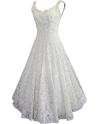 HotDresses Women's Sweetheart Floral Sleeveless Long Fit-and-Flare Dress, Ivory, 16