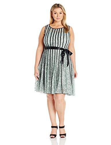 S.L. Fashions Women\'s Plus Size Sl Lace Dress with Satin ...