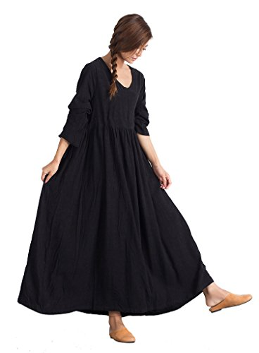 76a9f83bff Sellse Women s Linen Loose Soft Casual Bridesmaid Caftan Dress Cotton  Clothing