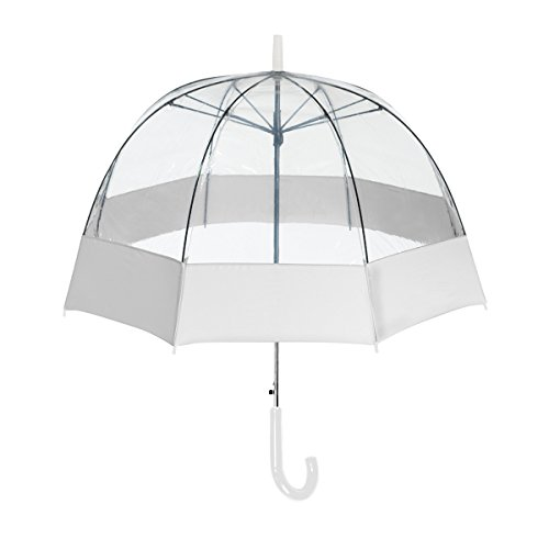 ShedRain® Auto Open Clear Bubble Umbrella With Sewn Fabric Border: White and Clear